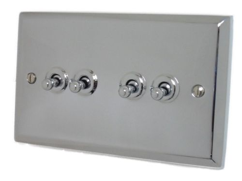 G&H SC284 Spectrum Plate Polished Chrome 4 Gang 1 or 2 Way Toggle Light Switch